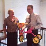 Carol from local firm Mandikos Wheeldon, accepting her prize from David Veerman