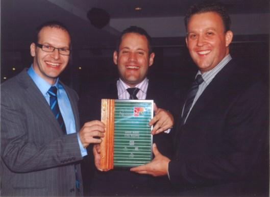 Accepting the Award, Bees Nees salesteam Richard Fleming, Regan Lacey and David Veerman.
