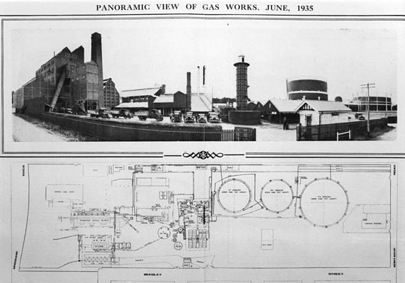 Panoramic view of the South Brisbane Gas and Light Company 1935
