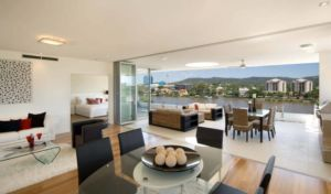The outlook from the Penthouse at Flow Apartments, West End.